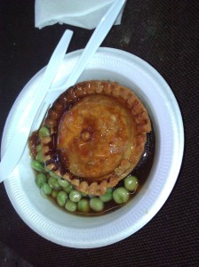 Pie and peas with gravy